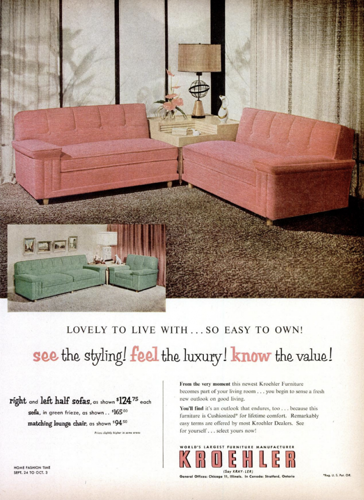 Vintage Kroehler Furniture Advertisement Life Magazine 1953